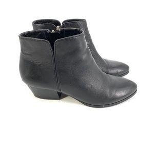 Franco Sarto Leather Ankle Quasar Black Booties
